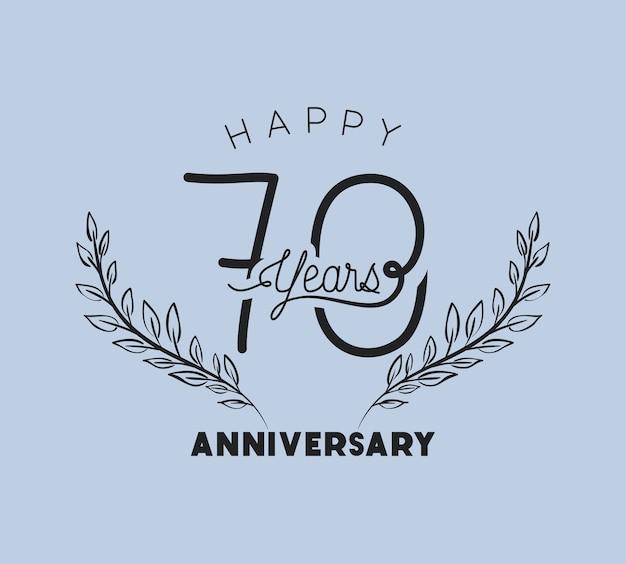 Feliz aniversário número setenta com coroa de grinalda