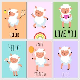 Feliz aniversário, olá cartões com ovelhas