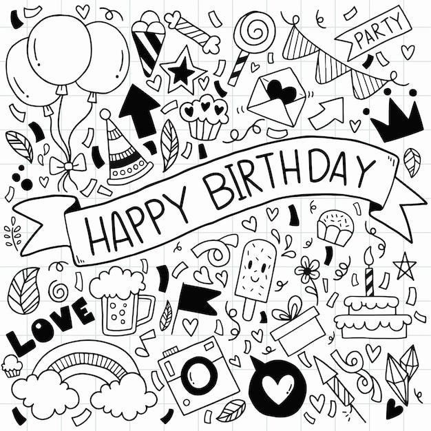 Feliz aniversário ornamentos à mão livre desenhada