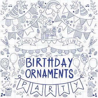 Feliz aniversário ornamentos