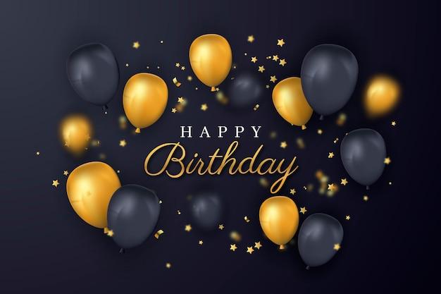Feliz aniversário ouro e balões pretos