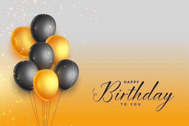 Feliz aniversário ouro e preto fundo de celebração
