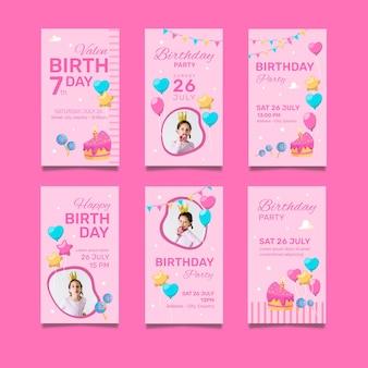 Feliz aniversário, pacote de cartões de convite
