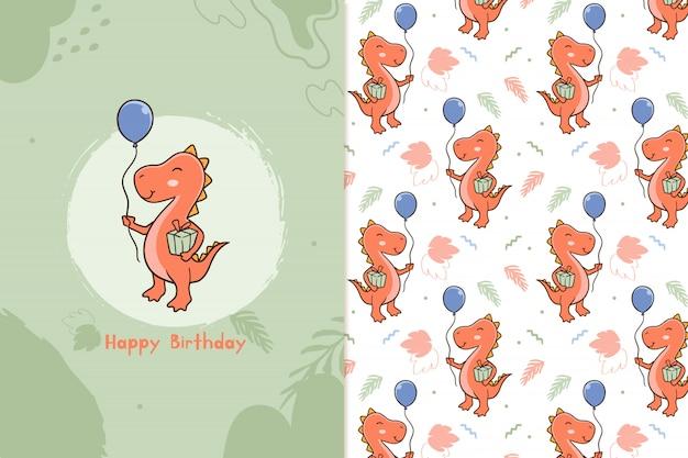 Feliz aniversário padrão de dinossauros