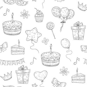 Feliz aniversário padrão sem emenda. aniversário comemoração festa desenhada bolo balão vela crianças férias doodle textura vintage