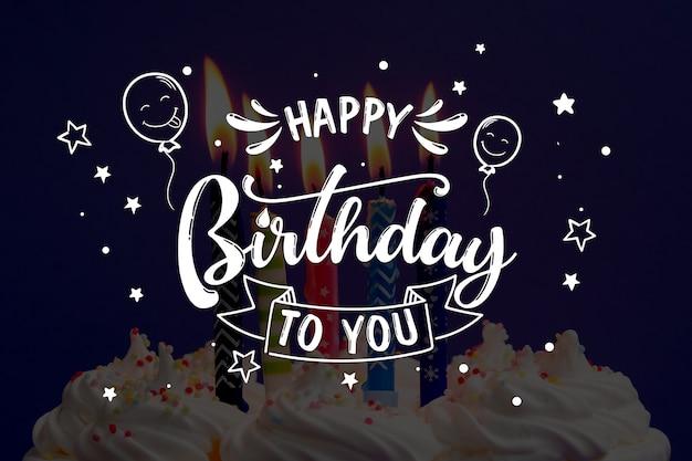 Feliz aniversário para você caligrafia