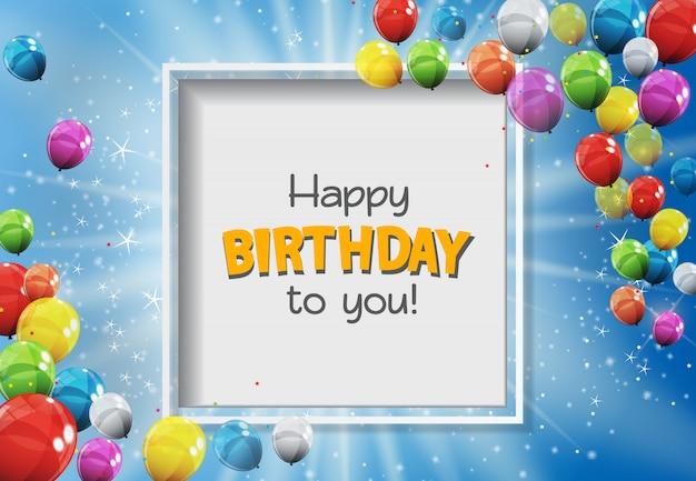 Feliz aniversário para você cartão com balões brilhantes de cor