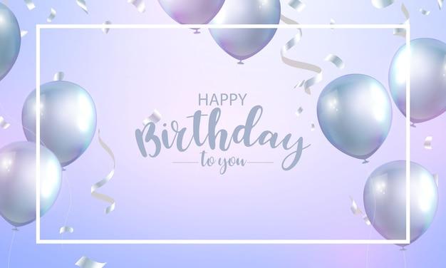 Feliz aniversário para você, cartão com letras e balões prateados