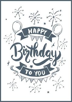 Feliz aniversário para você desenho estilo para cartão de aniversário