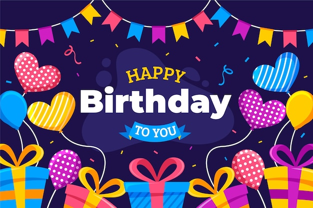Feliz aniversário para você design plano com balões
