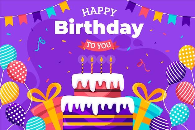 Feliz aniversário para você design plano com confete e bolo