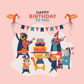 Feliz aniversário para você festa de animais