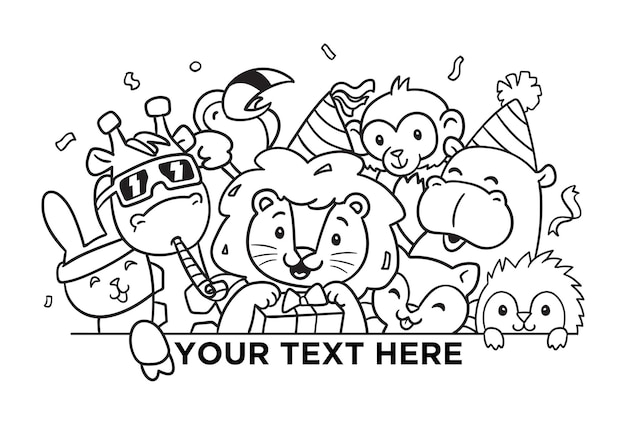 Feliz aniversário para você leão doodle