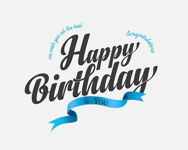 Feliz aniversário para você lettering bandeira