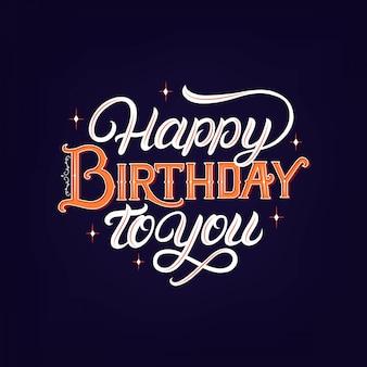 Feliz aniversário para você mão escrita letras.