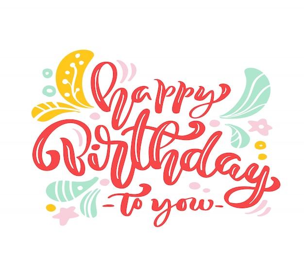 Feliz aniversário para você rosa cartão de letras de caligrafia