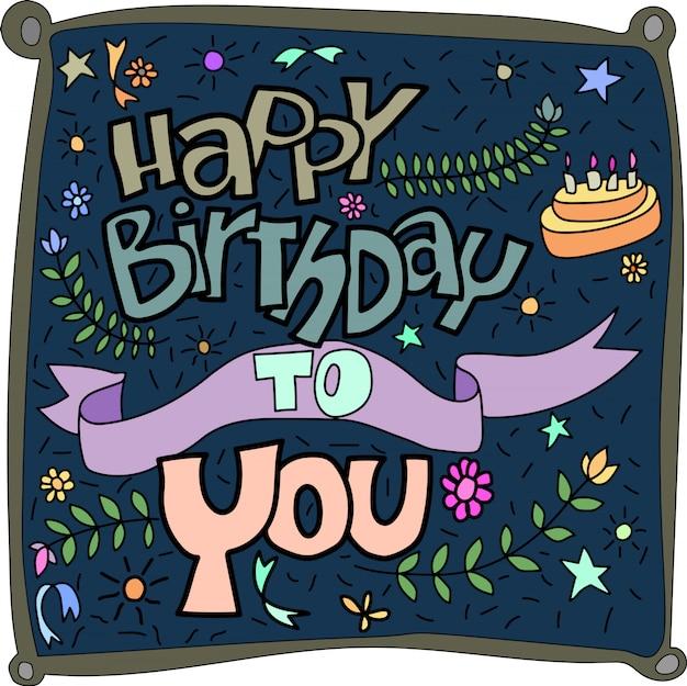 Feliz aniversário para você, rotulação vector design para cartões