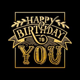 Feliz aniversário para você texto letras caligrafia preto e amarelo