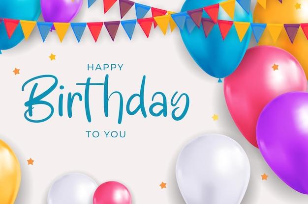 Feliz aniversário, parabéns banner design com balões de confete para fundo de férias de festa