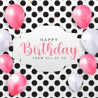 Feliz aniversário, parabéns banner design com confetti balloons e glossy glitter ribbon