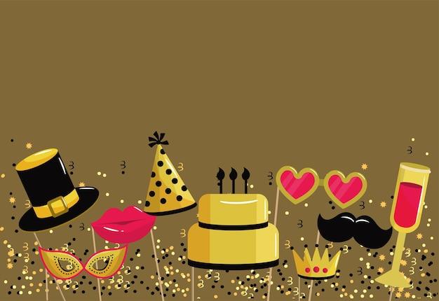 Feliz aniversário, partido, com, engraçado, traje