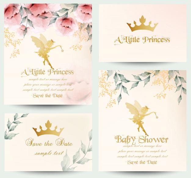 Feliz aniversário pequena princesa coleção de cartões