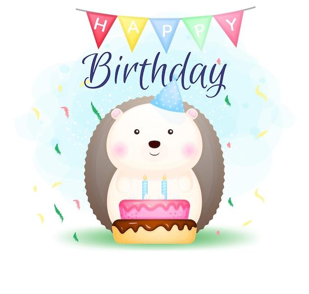 Feliz aniversário, personagem de desenho animado de ouriço