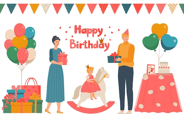 Feliz aniversário, personagem masculino, feminino dar presente princesinha no cavalo de brinquedo, família adorável comemorar data nascimento, ilustração.