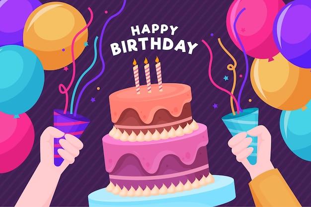 Feliz aniversário pessoas dando uma festa