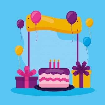 Feliz aniversário pessoas em estilo simples