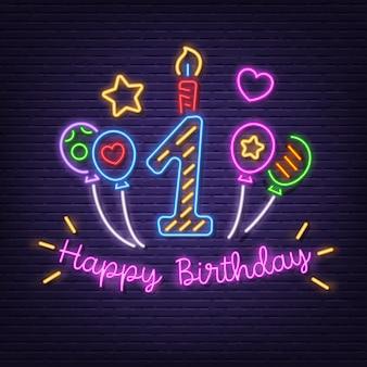 Feliz aniversário primeiro letreiro de néon