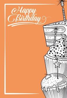 Feliz aniversário queque e bolo com festa de celebração de velas, fundo laranja estilo gravura