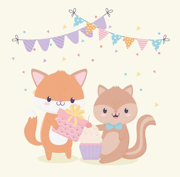 Feliz aniversário raposa esquilo presente celebração cartão de decoração