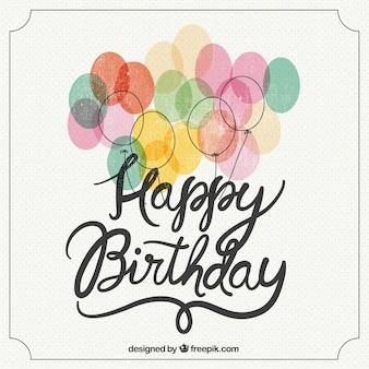 Feliz aniversário retro lettering