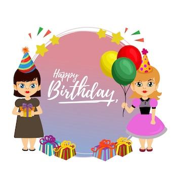 Feliz aniversário rodada cartão com duas garotinha