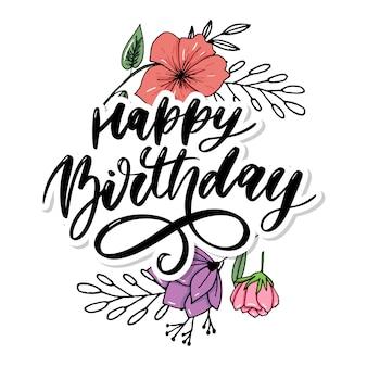 Feliz aniversário, rotulação, caligrafia, escova, gradiente