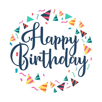 Feliz aniversário, rotulação papel cone chapéu festa vector design