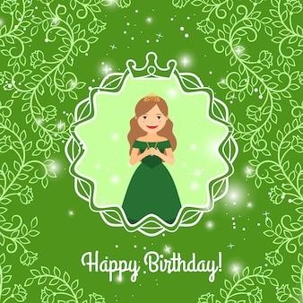 Feliz aniversário saudação com princesa