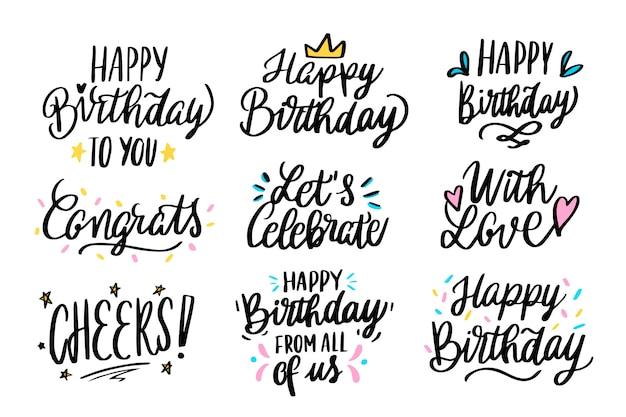 Feliz aniversário saudações lettering