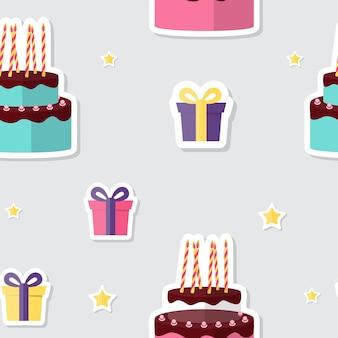 Feliz aniversário sem costura de fundo com bolo e caixa de presente. ilustração vetorial eps10