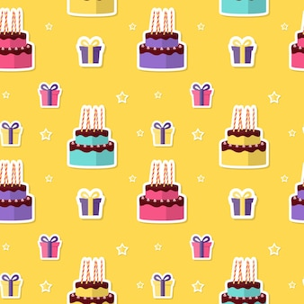 Feliz aniversário sem costura de fundo com bolo e caixa de presente. ilustração vetorial