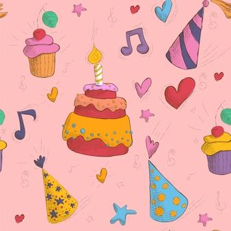 Feliz aniversário sem costura padrão com bolo