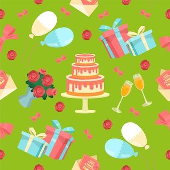 Feliz aniversário sem costura padrão