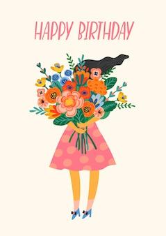 Feliz aniversário. senhora bonita com buquê de flores.