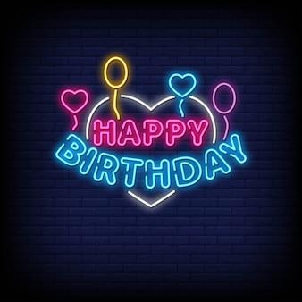 Feliz aniversário sinais de néon estilo texto
