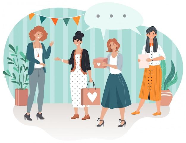 Feliz aniversário, sorrindo convidados com presentes presentes veio a ilustração de desenhos animados de aniversário de festa de mulher.