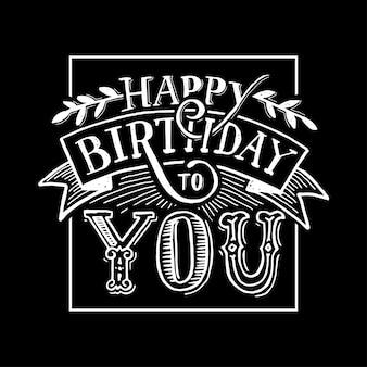 Feliz aniversário texto letras caligrafia preto branco