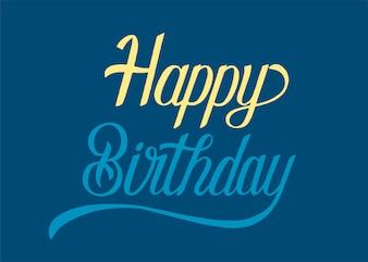 Feliz aniversário tipografia design ilustração