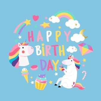 Feliz aniversário unicórnio com vetor de cartão de elementos mágicos
