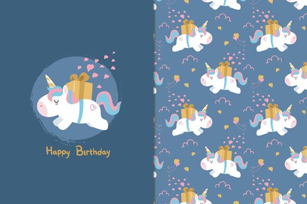 Feliz aniversário unicórnio sem costura padrão